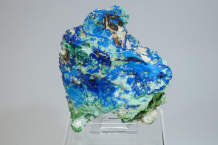 Azurite with Malachite, Conichalcite, Olivenite and Calcite